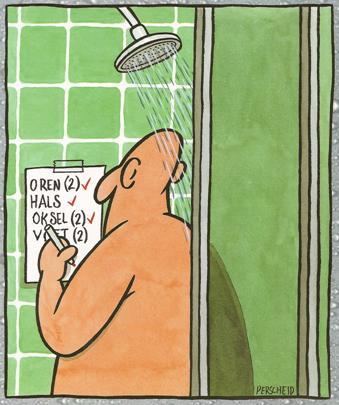 Het is mijn beurt onder de douche