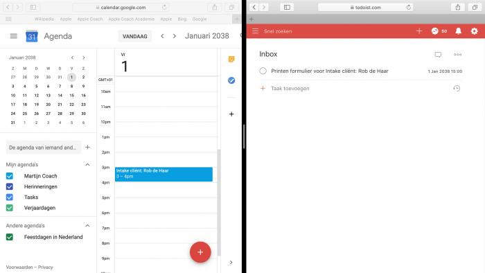 De agenda afspraak in de Google Calendar is automatisch omgezet in een taak in Todoist
