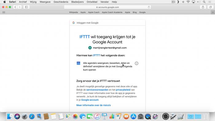 IFTTT heeft toegang nodig tot je Google account om bij je afspraken te kunnen