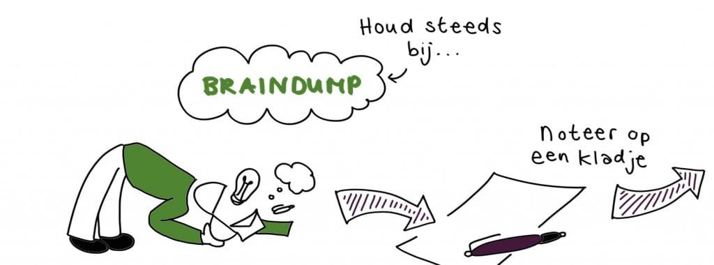 Een braindump is uiteindelijk vooral je gedachten uit je hoofd, op een kladblaadje plaatsen