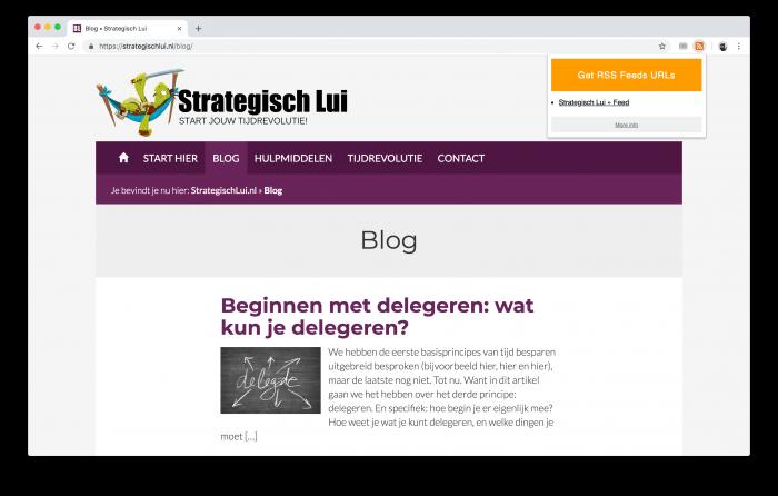 De Chrome extensie kan je helpen de RSS feed voor een website te vinden