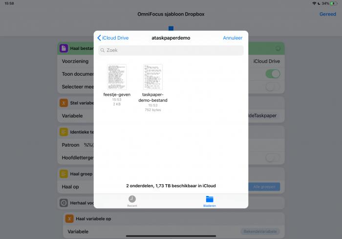 Via de standaard Bestanden-app selecteer je je TaskPaper-bestand