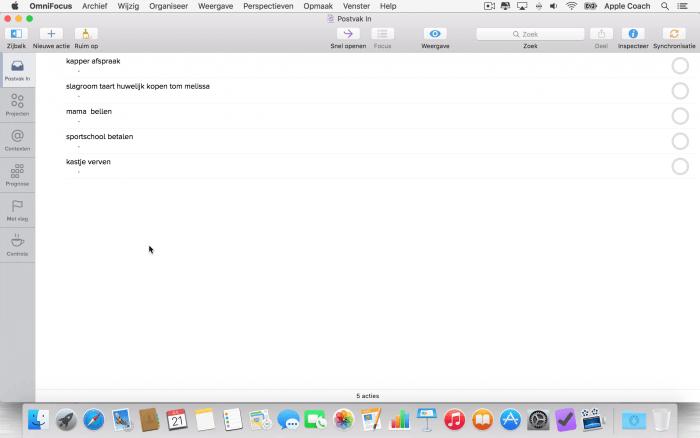 Een gevulde inbox in OmniFocus