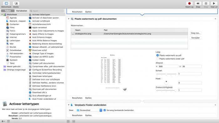 Plaats automatisch een watermerk op geselecteerde PDFs met Automator