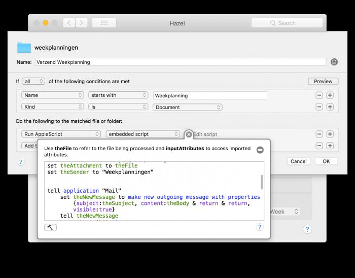 Verzend de weekplanning automatisch met Hazel en AppleScript